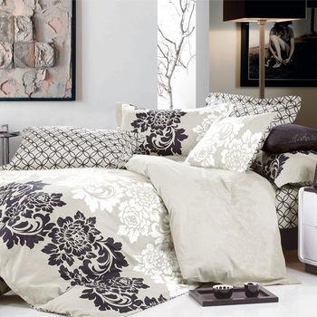 【KOSNEY】古典風雅 頂級特大精梳棉兩用被床包組