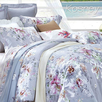 【KOSNEY】淡彩凝香  雙人100%天絲TENCE六件式兩用被床罩組