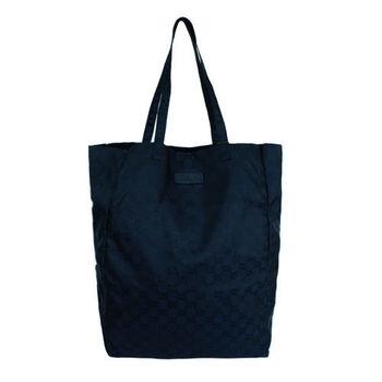 GUCCI 緞面G logo皮標收納購物袋(任選)-型(網)
