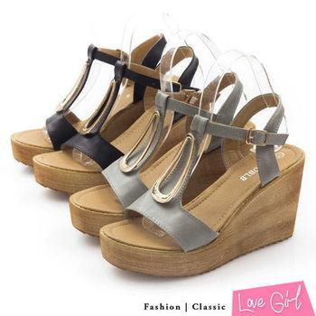 ☆Love Girl☆金屬釦飾大T字楔型涼鞋