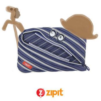 Zipit 牛仔怪獸拉鍊包(大)-藍白條紋