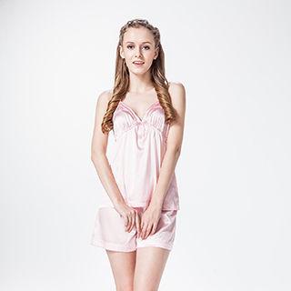 [唐絹]浪漫英倫蠶絲居家睡衣套組-亮麗粉