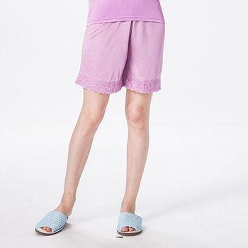 【唐絹】畫意絲情蕾絲居家短褲(葡萄紫)