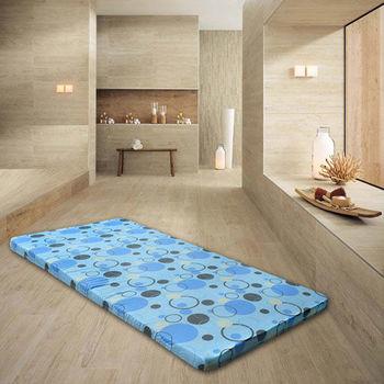 【Mexsmon美思夢】彩繪藍圓點5cm記憶床墊單人_3X6.2尺