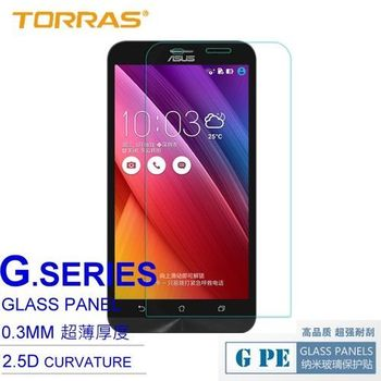 【TORRAS】ASUS ZenFone2 5吋 防爆鋼化玻璃貼 G PE 系列 9H硬度 0.3MM 2.5D導角 AGC玻璃 送面條線