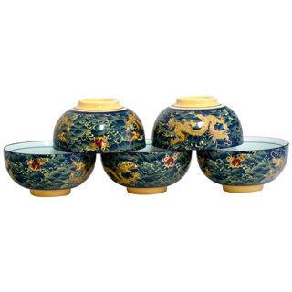 【鹿港窯】茶具浮雕-富貴金龍五福臨門碗組(瓷器)