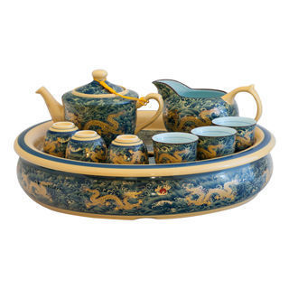 【鹿港窯】茶具浮雕-富貴金龍十一件式至尊茶盤組