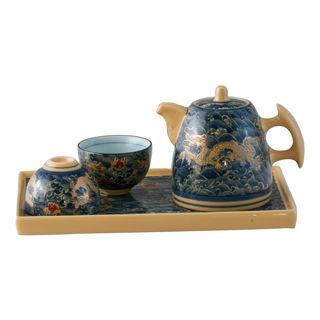 【鹿港窯】茶具組浮雕-富貴金龍五件式茶盤組(瓷器)