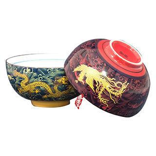 【鹿港窯】 瓷器浮雕-富貴金龍龍鳳和鳴碗組