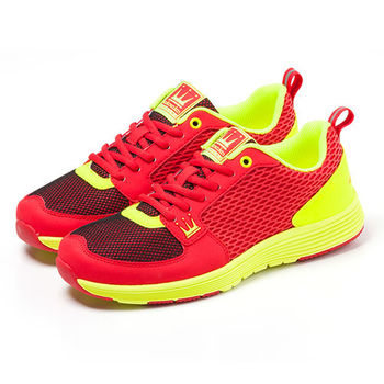 【DADA】城市美學螢光輕量慢跑鞋-女(炫麗紅-1151582006)
