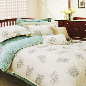 【KOSNEY】綠光愛戀  雙人100%天絲TENCE六件式兩用被床罩組