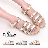 ~Messa米莎專櫃女鞋~MIT 渡假風情三寬帶側扣麻編涼鞋 ^#45 三色