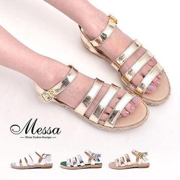 【Messa米莎專櫃女鞋】MIT 渡假風情三寬帶側扣麻編涼鞋-三色