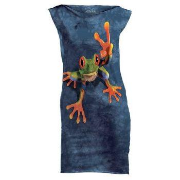 摩達客(預購)The Mountain 勝利蛙 休閒短洋裝連身裙迷你短裙
