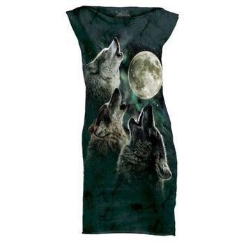 摩達客(預購)The Mountain 三狼嚎月 休閒短洋裝連身裙迷你短裙