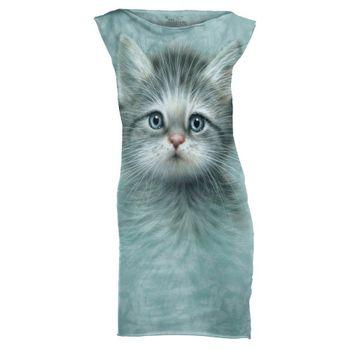 摩達客(預購)The Mountain 藍眼小貓 休閒短洋裝連身裙迷你短裙