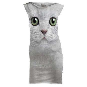 摩達客(預購)The Mountain 綠眼貓臉 休閒短洋裝連身裙迷你短裙