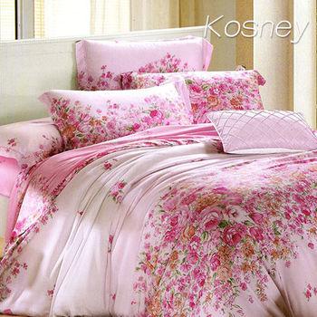 【KOSNEY】下一站幸福  雙人100%天絲TENCE六件式兩用被床罩組