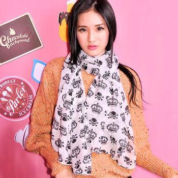 太妃糖 皇冠骷髏時尚巴黎紗圍巾(白)