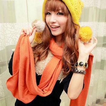 太妃糖 素色毛球垂掛造型仿羊絨圍巾(橘)