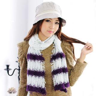 太妃糖 棉花澎澎甜味毛織彈性圍巾(紫)
