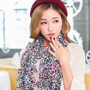太妃糖 清新拼色時尚巴黎紗圍巾(紫色)