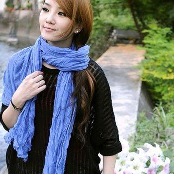 太妃糖 韓版秋冬款純色皺褶加大圍巾