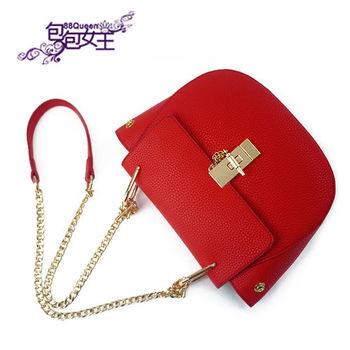 【88Queen❤包包女王】正韓空運★英倫時尚鎖扣鏈帶小包-紅色