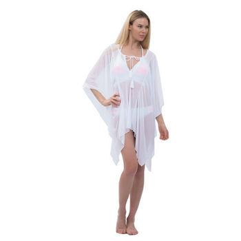 【sunseeker 泳裝】性感度假風素色系列女外罩衫-不附內裡 (84668) S-L 白