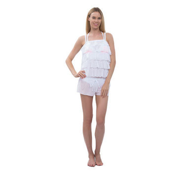 【sunseeker 泳裝】彩色渲染風女泳裝 (84678) S-L 白罩衫