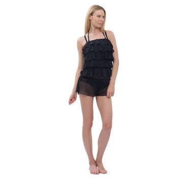 【sunseeker 泳裝】彩色渲染風女泳裝 (84678) S-L 黑罩衫