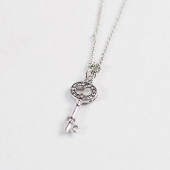 美國品牌Juicy Couture 時尚鑲鑽鑰匙造型項鍊.銀