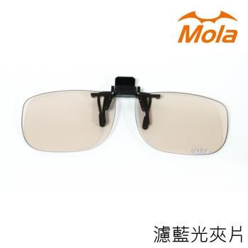 MOLA 近視/老花眼鏡族可戴-摩拉前掛可掀夾式抗藍光眼鏡鏡片-Ta-c131br