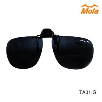 MOLA 摩拉有度數太陽眼鏡可戴 前掛可掀偏光夾式太陽眼鏡鏡片-大翻灰