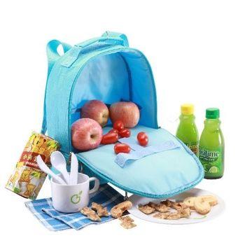 幼童野餐保溫背包(含餐具)-藍色