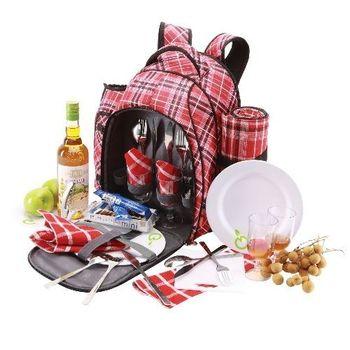 YoDo英倫格紋四人野餐包(含野餐墊/餐具)