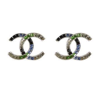 【CHANEL】 A86922 香奈兒 經典雙C LOGO繽紛鑲鑽耳環.銀