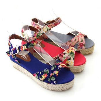 【Pretty】碎花魚口楔型厚底涼鞋-藍色、灰色、紅色