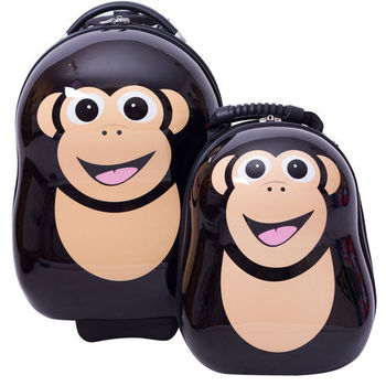 英國cuties and pals蛋型輕硬殼旅行箱+背包(黑猩猩)