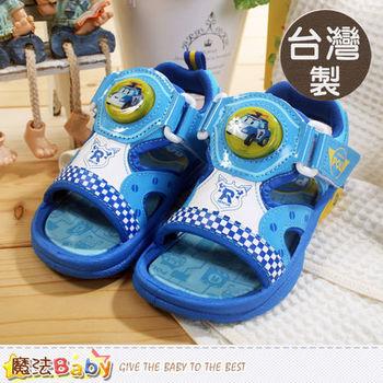 魔法Baby~台灣製POLI動畫兒童閃燈涼鞋~sa51206