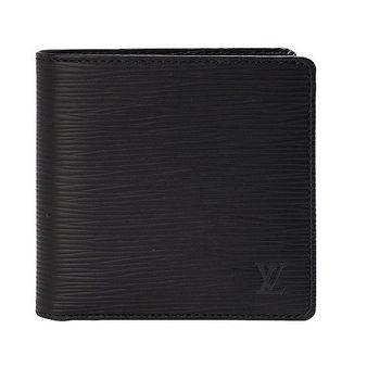LV M60612 EPI水波紋MARCO對折零錢袋短夾(黑)