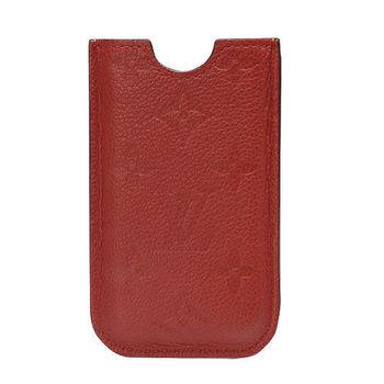 LV M60367 經典Monogram小牛皮 IPHONE 4 手機套(橘紅)