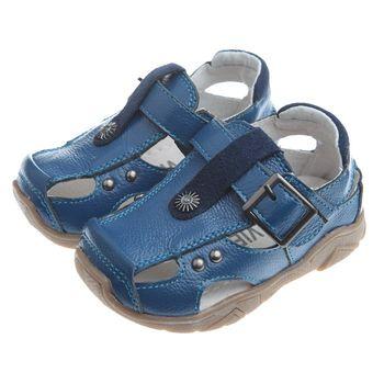 《布布童鞋》經典韓風紳藍真皮毛毛蟲護趾涼鞋(13公分~21.5公分)OIGS06B