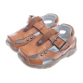 《布布童鞋》經典韓風深咖啡色真皮毛毛蟲護趾涼鞋(13公分~21.5公分)OIFS06I