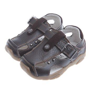 《布布童鞋》經典韓風棕色真皮毛毛蟲護趾涼鞋(13公分~21.5公分)OIHS06L