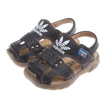 《布布童鞋》時尚黑色四葉草真皮毛毛蟲護趾涼鞋(13公分~21.5公分)OIF805D