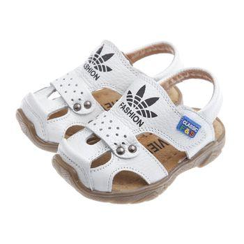 《布布童鞋》時尚白色四葉草真皮毛毛蟲護趾涼鞋(13公分~21.5公分)OIC805M