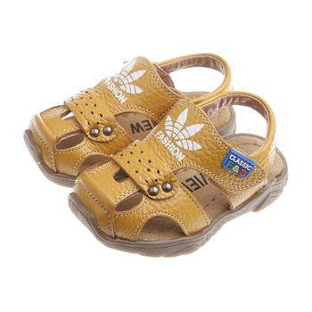 《布布童鞋》時尚棕色四葉草真皮毛毛蟲護趾涼鞋(13公分~21.5公分)OIB805L