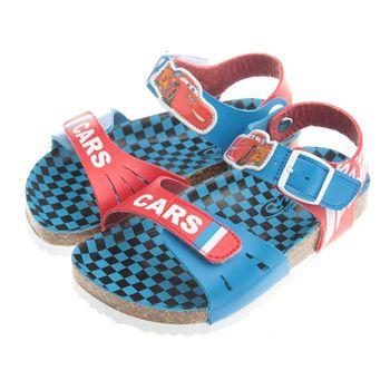《布布童鞋》Cars閃電麥坤腳背可調節式藍色歐風兒童氣墊涼鞋(16公分~21公分)MHC816B