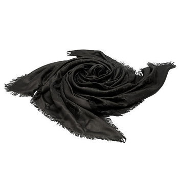 LV M71329 MONOGRAM印花絲羊毛披肩(黑)